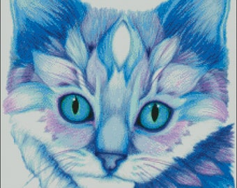 Kitten in blues and purples bright pretty cat counted cross stitch pattern PDF