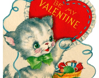 Valentines day kitten with heart vintag art counted cross stitch pattern