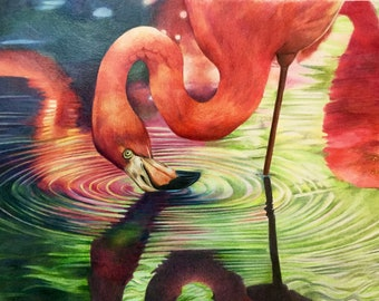 A Pink Flamingo bright and colorful counted cross stitch pattern