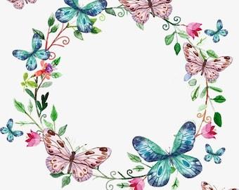 Wreath shaped Butterflies counted cross stitch pattern