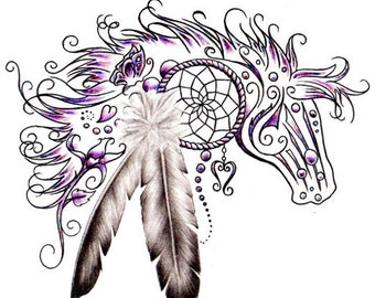 Horse Head Dream catcher with feathers fantasy counted cross stitch pattern PDF download