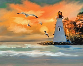 Lighthouse ocean sea gulls sunset counted cross stitch pattern PDF download