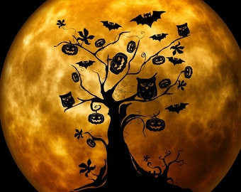 Bats and owls Halloween full moon counted cross stitch pattern