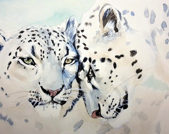 Snow Leopard couple wild cats counted cross stitch pattern