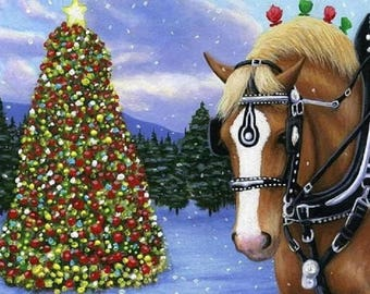 BELGIAN draft horse christmas tree snow holiday  counted cross stitch pattern PDF
