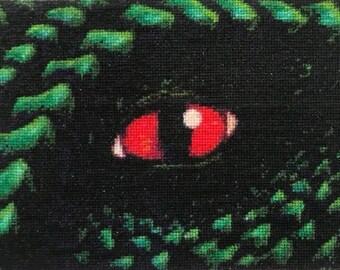 Dragon eye counted cross stitch pattern