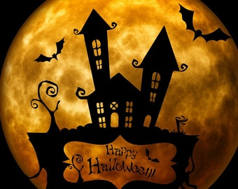 Spook House Halloween full moon with bats counted cross stitch pattern