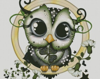 Owl St Patricks day holiday counted cross stitch pattern