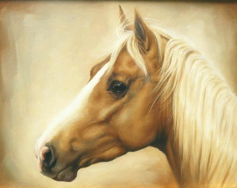 Quarter horse palomino western equine counted cross stitch pattern