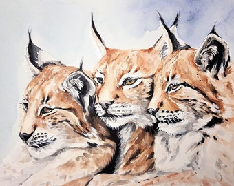 Lynx cats wildlife counted cross stitch pattern