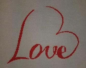 Love heart  counted cross stitch pattern PDF