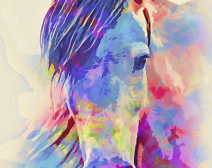 Featured listing image: abstract horse pony watercolor counted cross stitch pattern PDF download