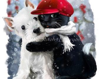 Westie dog black cat yin yang animal counted cross stitch pattern PDF