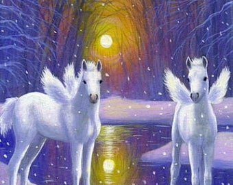 Pegasus foals twins fantasy winged horse counted cross stitch pattern