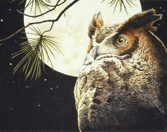 Great horned owl  night full moon wildife counted cross stitch pattern