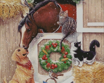 horse stable cat dog  christmas winter counted cross stitch pattern
