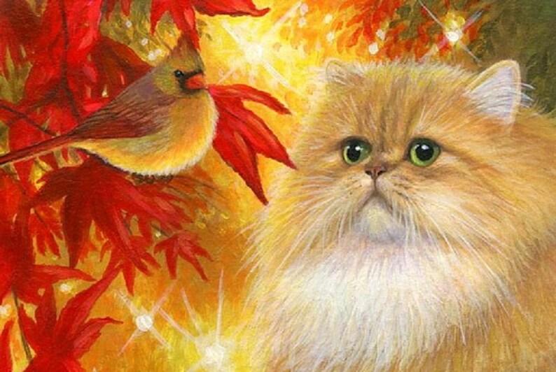 Fogli Colorati Di Gatto Persiano Uccello Cardinale Rosso Etsy