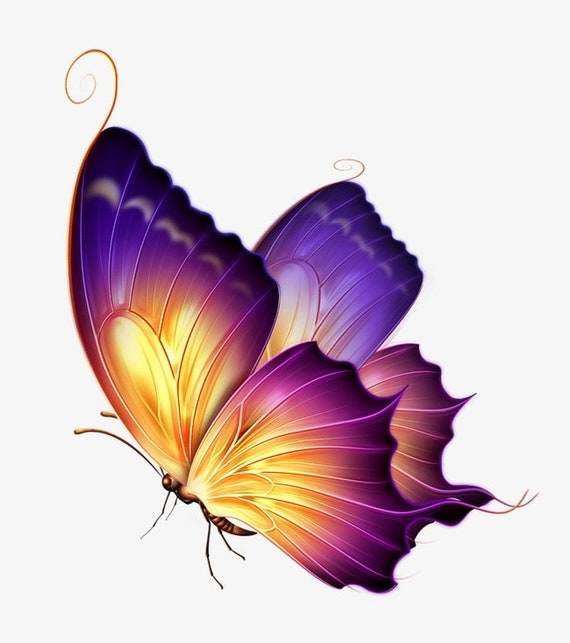Colorful Lavender Butterfly Counted Cross Stitch Chart Pattern