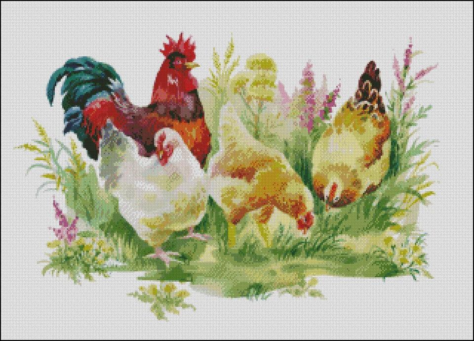 Chicken Art Deco ~ DIY Counted Cross Stitch Pattern