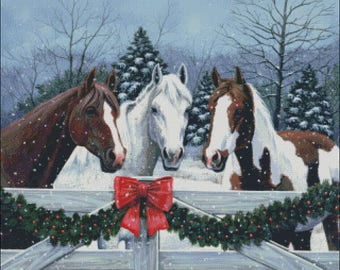 Horses Holidays Christmas winter counted cross stitch pattern