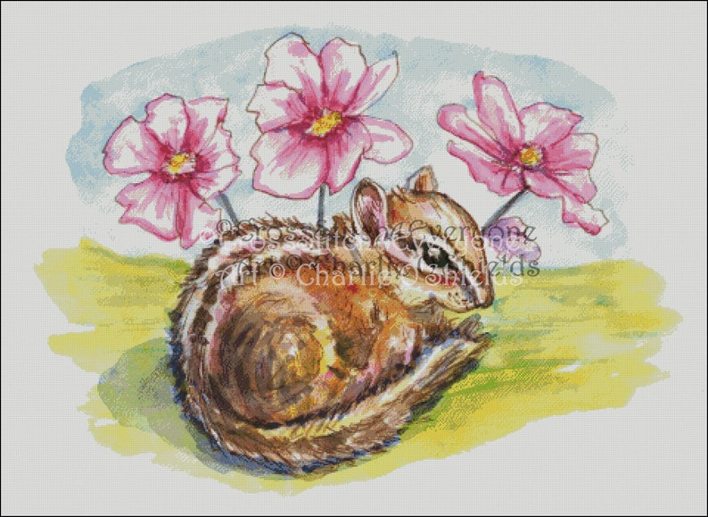 Watercolor chipmunk and flowers animal counted cross stitch pattern digital pdf
