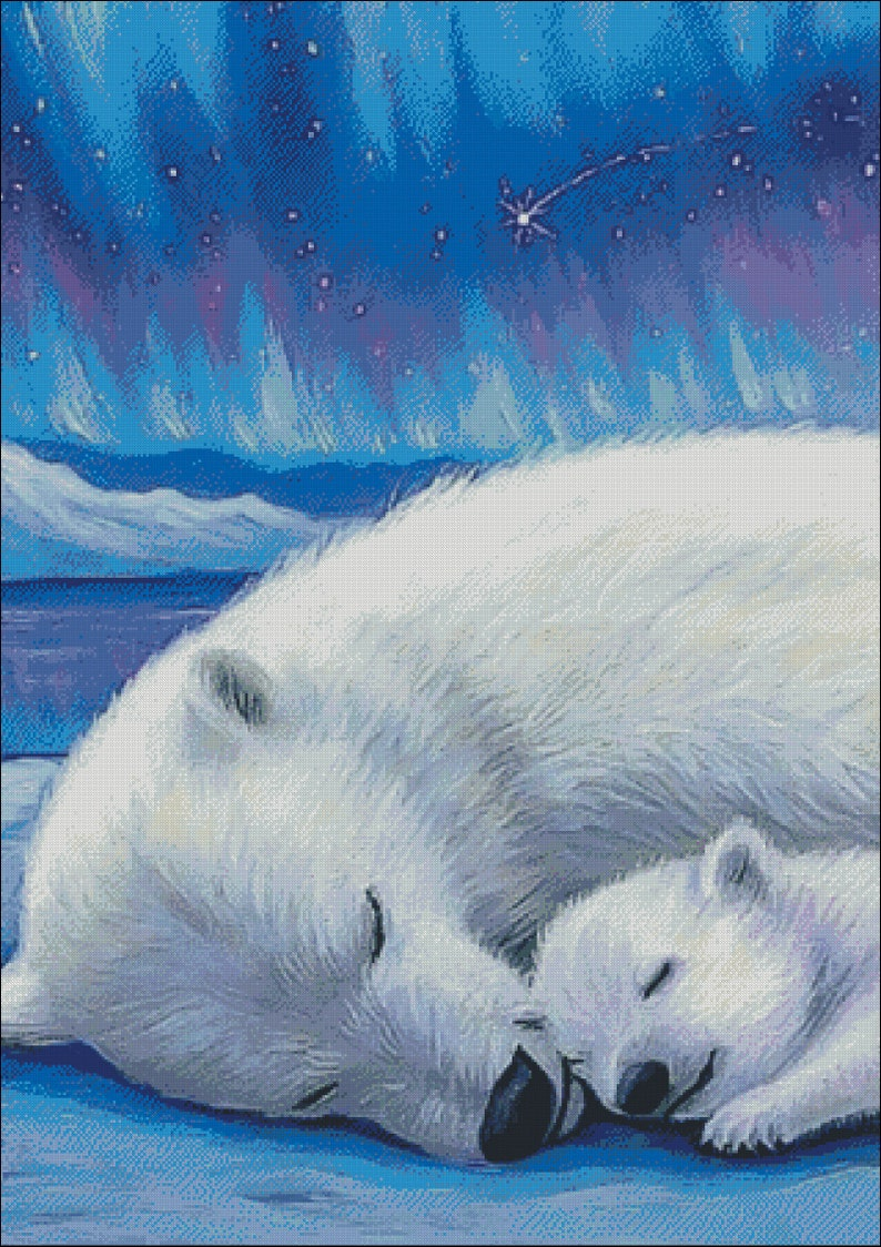 Рисунок белые медведи и северное сияние