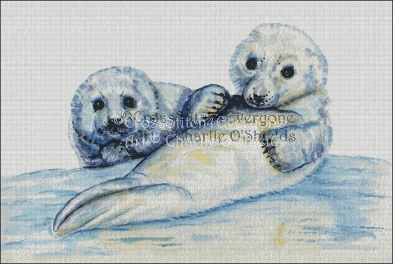 Watercolor baby harp seals  animal counted cross stitch pattern digital pdf