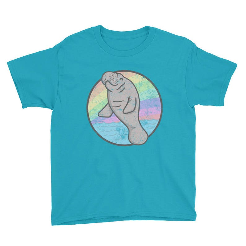 2d643196c05a Manatee Shirt Kids Cute Rainbow Chubby Mermaid Sea Cow T Shirt | Etsy