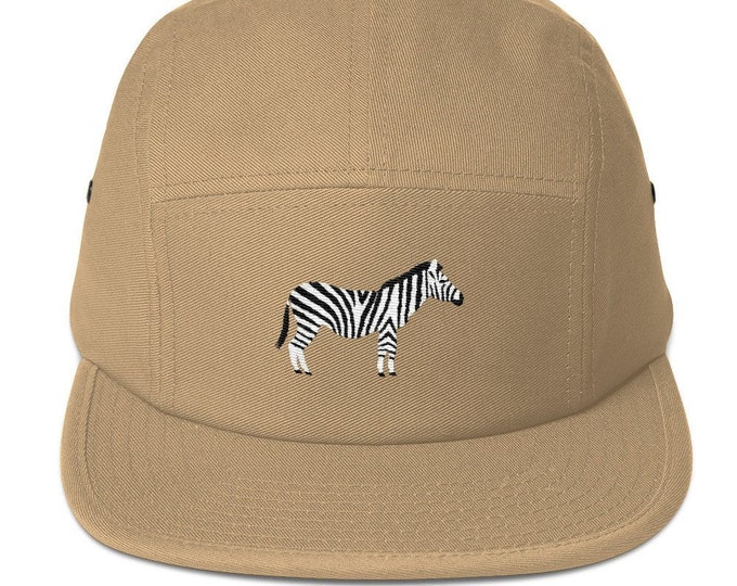 5 Panel Cap Cap Embroidered/Embroidered Zebra