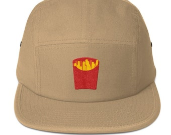 Unisex 5 panel cap / hat with embroidered fries