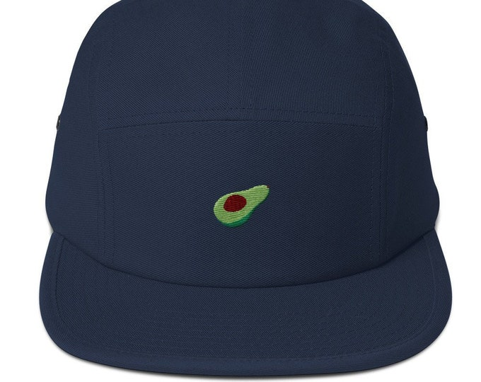 Unisex 5 panel cap / hat with embroidered avocado