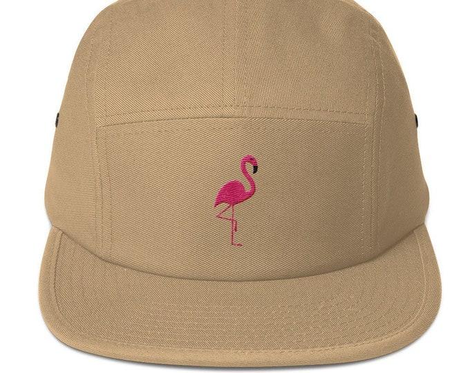 5 Panel Camper Cap Cap Embroidered/Embroidered Flamingo