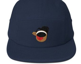 5 Panel Camper Cap / Hat embroidered Coffee Cup