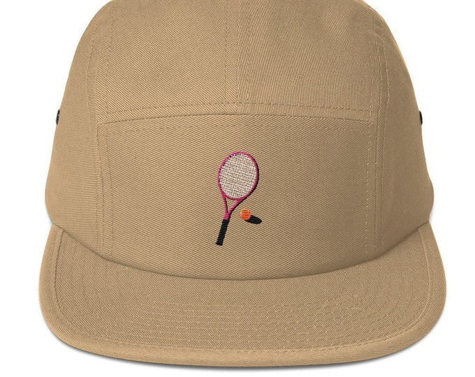 Unisex 5 panel cap / hat with embroidered tennis racket