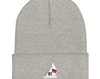 Cuffed Beanie / Wool Hat - Sailing Ship / Sailboat