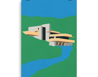 Poster Art Print Illustration – Frank Lloyd Wright Falling Water