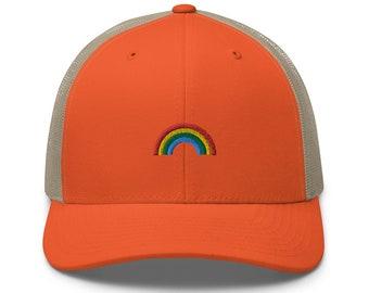 Unisex Trucker Cap / Baseball Cap with Embroidered Rainbow / Rainbow