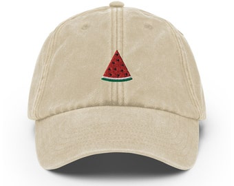 Unisex Vintage Dad Hat embroidered with Melon Slice