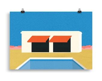 Poster Art Print Illustration – Nevada Pool House