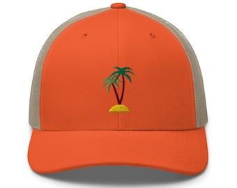 Unisex Trucker Cap / Baseball Cap with Embroidered Palms / Palms