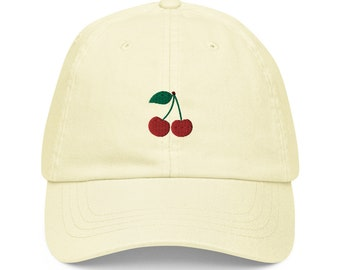 Unisex Dad Hat / Baseball Cap Pastel Embroidered with Cherries / Cherries