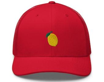 Unisex Trucker Cap / Baseball Cap with Embroidered Lemon / Lemon