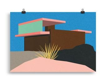 Poster Art Print Illustration – Kaufmann Desert House II Palm Springs