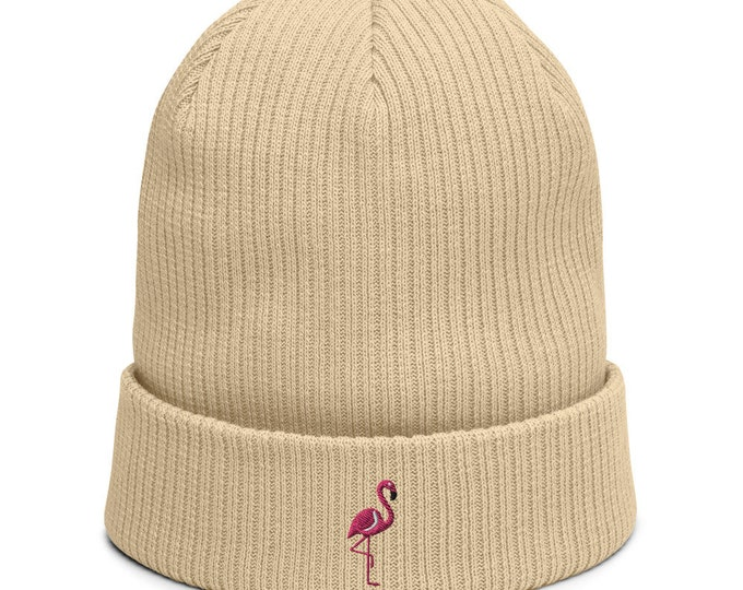 Organic ribbed beanie embroidered with Flamingo