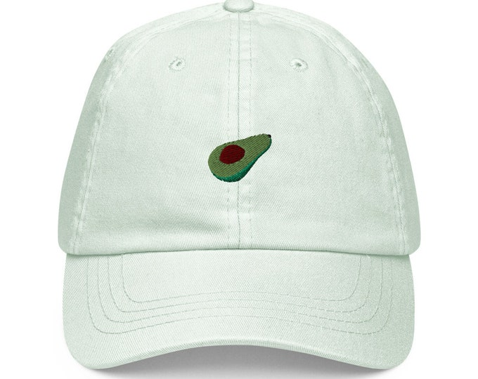 Unisex Dad Hat / Baseball Cap Pastel Embroidered with Avocado