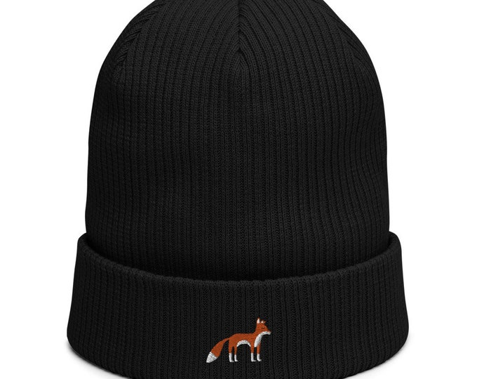 Organic ribbed beanie embroidered with Fox