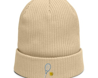 Organic ribbed beanie embroidered with Tennis racket
