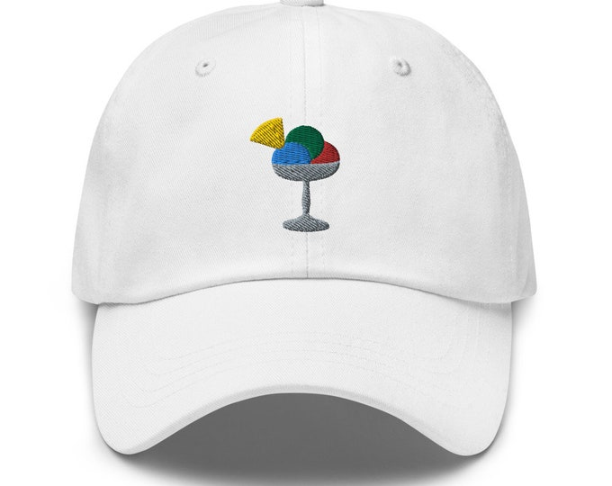 Unisex Dad Hat / Baseball Cap Embroidered With Sundae / Cup Of Icecream