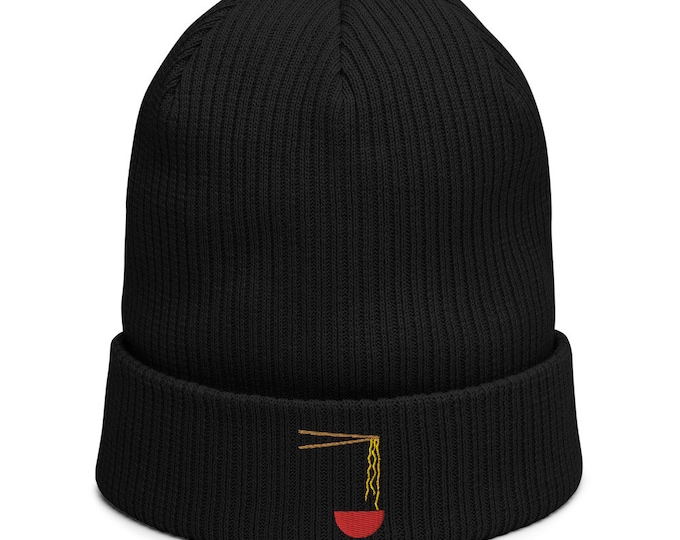 Organic ribbed beanie embroidered with Ramen Soup