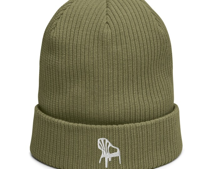 Organic ribbed beanie embroidered with Plastic Chair
